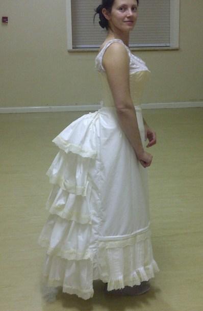44. petticoat on the steel boned bustle, closed side
