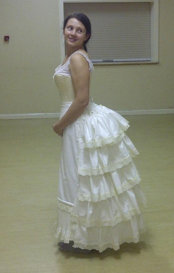45. petticoat on the steel boned bustle, buttoned side