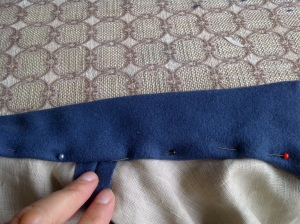 23. collar sewn and inside pinned, ready for handstitching