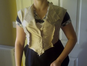 24. lining pinned, tried onto the corset and the skirt for one final check