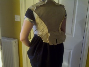 25. lining pinned - back view