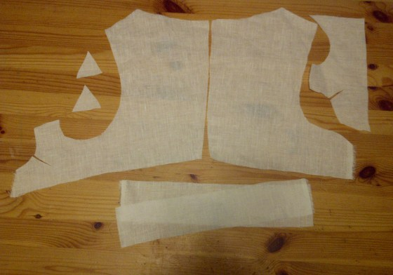 3. linen mock up pieces - later used as lining