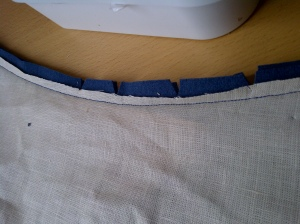 9. curved seam with bulk removed and notched to allow for movement