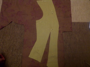 37. cutting out the pieces - here lining on top fabric, front piece