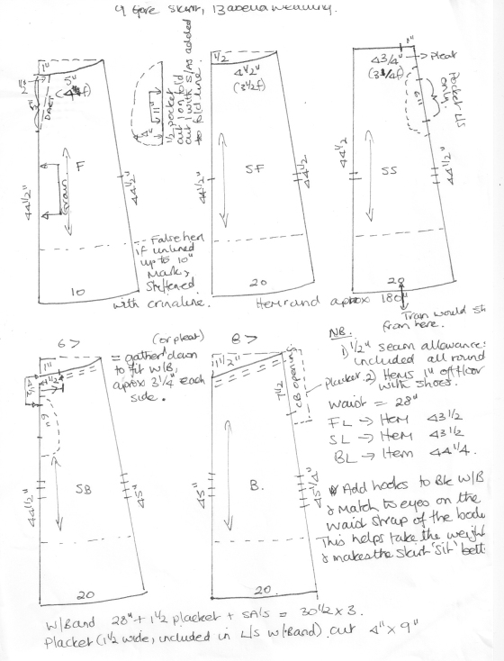 1. 9Gore Skirt pattern with notes
