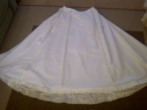 10. the inside of the skirt showing the flatlining and the ruffle