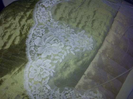25. brussels chantilly lace, cut in half and stitched onto the tulle