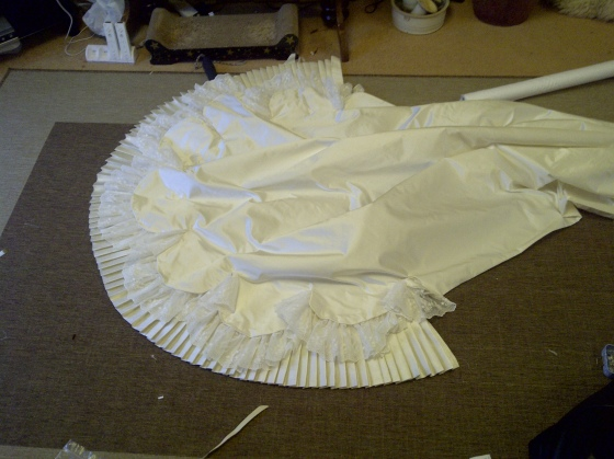 35. the ruffle added to the train