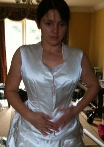 5. trying the bodice on - the front