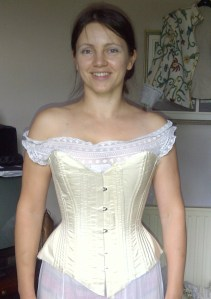 9. corset amended, with a shorter busk, here still before  binding and finishing touches