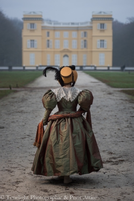 1830s Gown and Hooded Cloak (10)